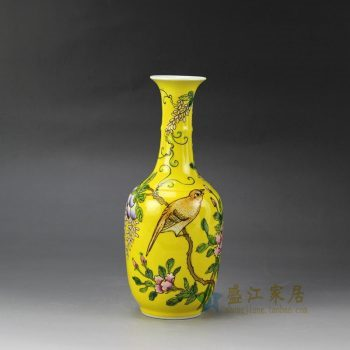RYRK22_景德镇陶瓷 手绘黄底粉彩 花鸟花插 花瓶 家居摆件品