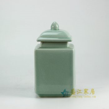 RYNQ176-B_景德镇陶瓷 颜色釉 影青 四方陶瓷罐 茶叶罐 盖罐