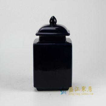 RYNQ176-A_景德镇陶瓷  颜色釉 黑色 四方陶瓷罐 茶叶罐 盖罐