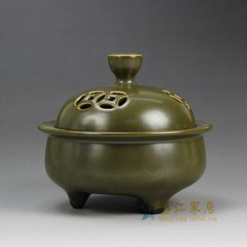 RYPM34_景德镇陶瓷 茶叶末釉 香炉