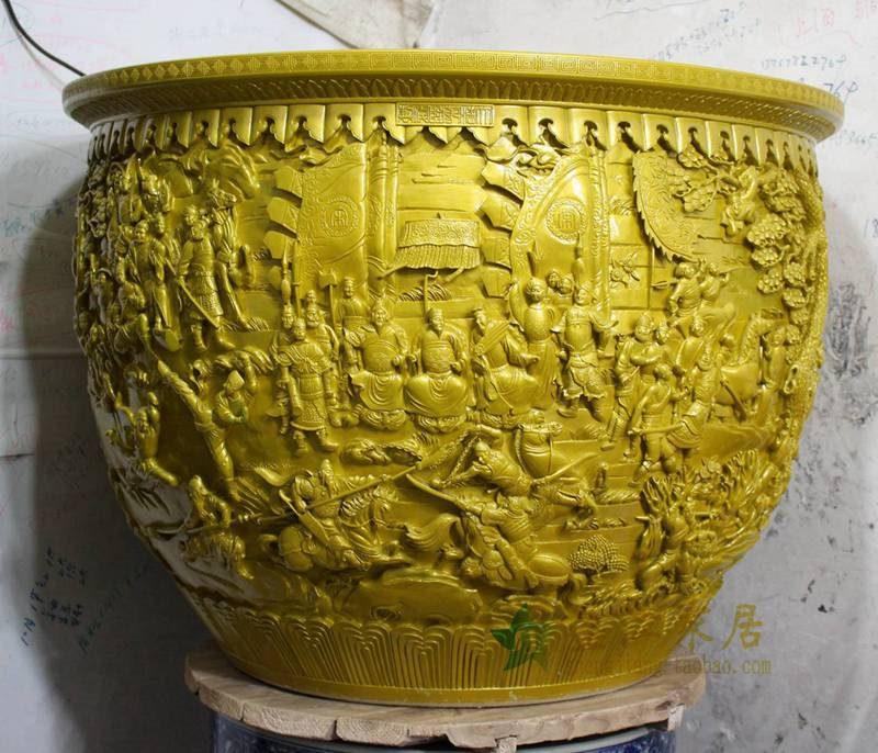 盛江陶瓷  手工雕刻 水缸 鱼缸