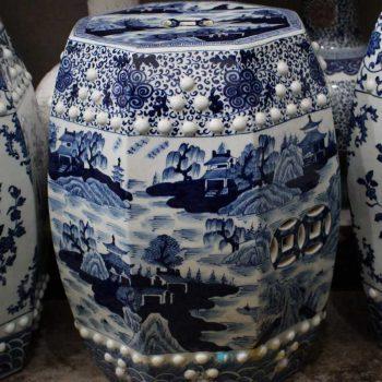 RYOM26-B_景德镇陶瓷 手绘青花缠枝山水 雕刻铜钱 六方凳凉墩