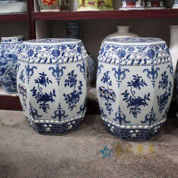 RYOM26-A_景德镇陶瓷  手绘青花缠枝 铜钱 六方凳 凉墩