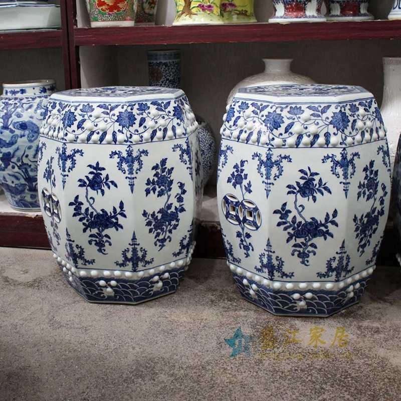 盛江陶瓷  手绘青花缠枝 铜钱 六方凳 凉墩