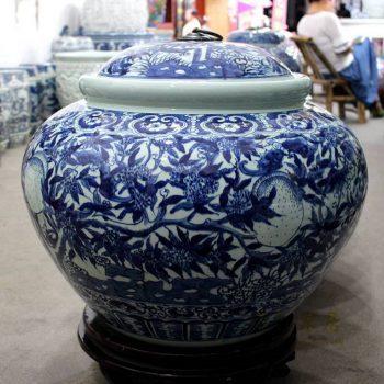 RYOM25-B_盛江陶瓷 手绘青花 寿桃 陶瓷罐 盖罐 储物罐 米缸