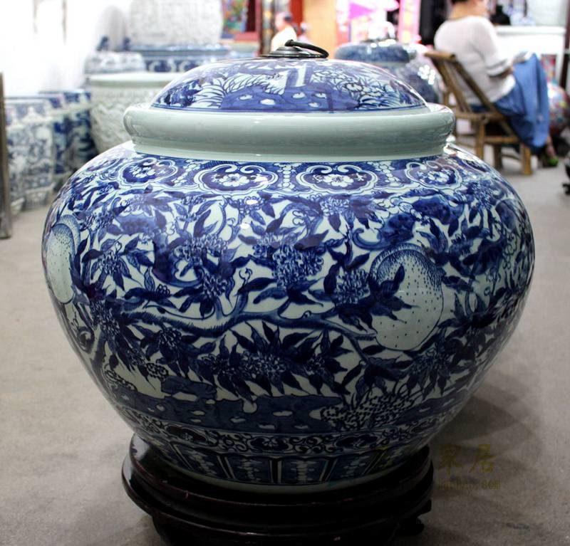 盛江陶瓷 手绘青花 寿桃 陶瓷罐 盖罐 储物罐 米缸