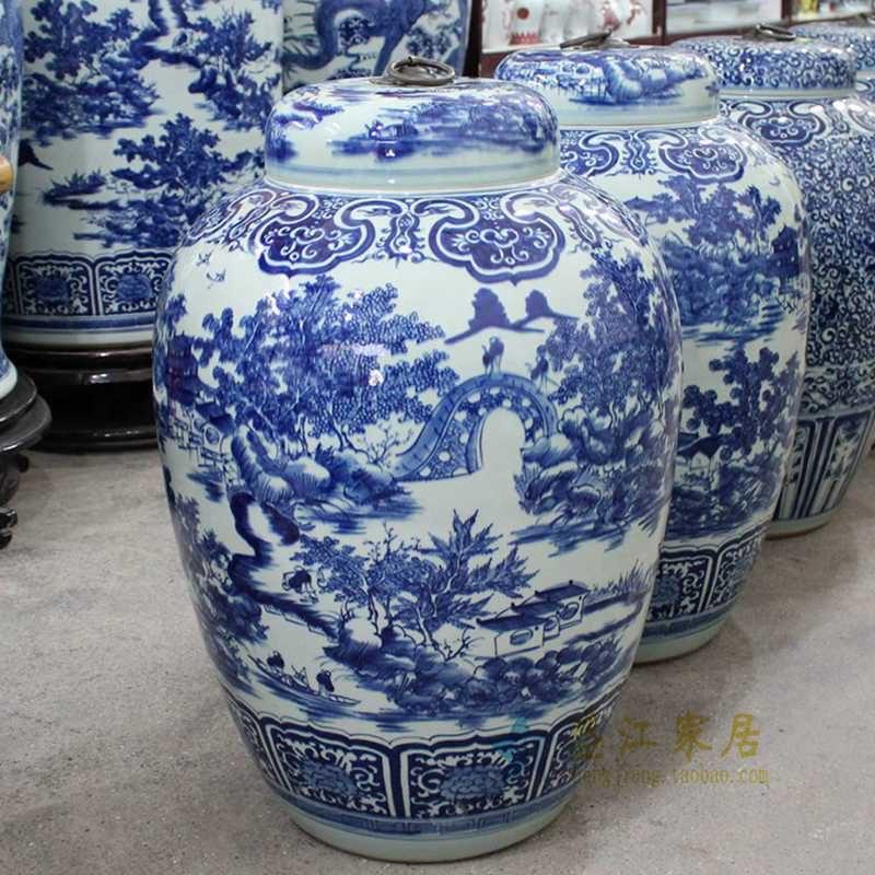 盛江陶瓷 纯手绘青花 山水 铜钩陶瓷罐 盖罐 储物罐