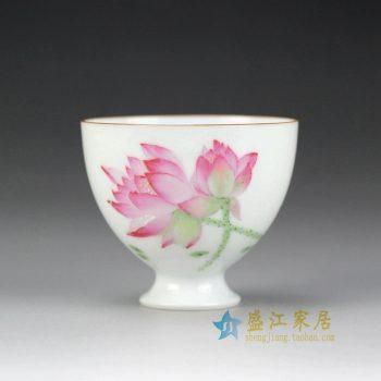 RYOK84 手绘新彩 荷花 功夫茶杯