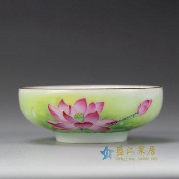 RYOK83_景德镇陶瓷 手绘粉彩 荷花描金边 单杯 茶具