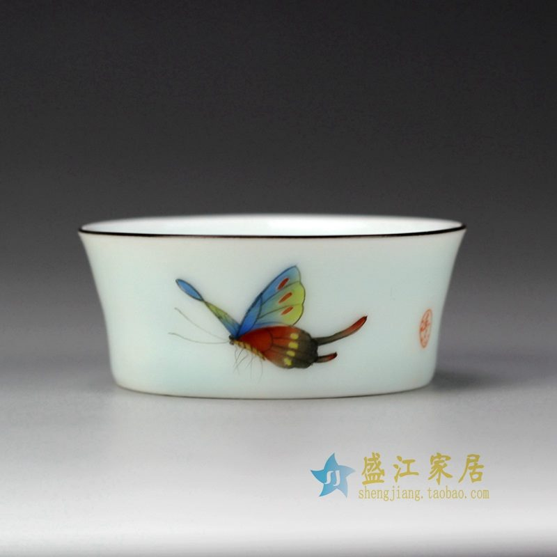 盛江陶瓷 手绘粉彩 蝴蝶描金边 单杯 茶具