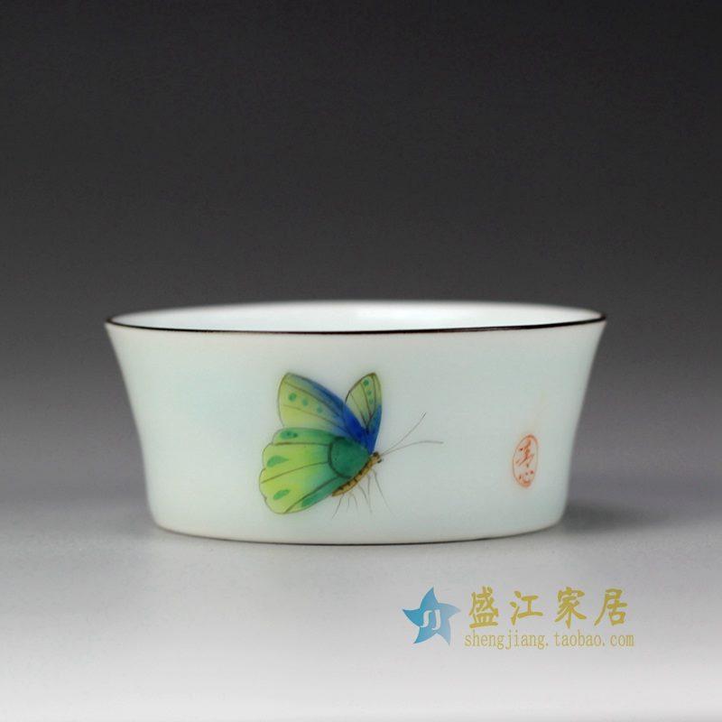 盛江陶瓷 手绘粉彩 描金 单杯 茶具