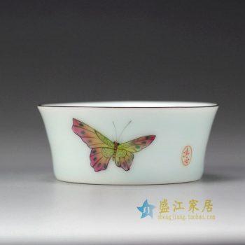 RYOK82-D_景德镇陶瓷 手绘粉彩 蝴蝶 描金边 单杯 茶具