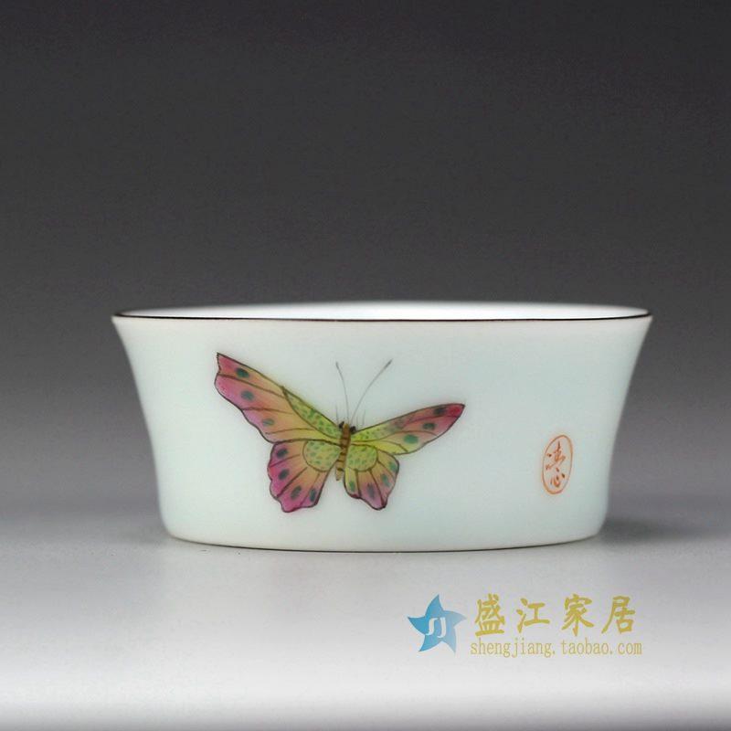 盛江陶瓷 手绘粉彩 蝴蝶 描金边 单杯 茶具