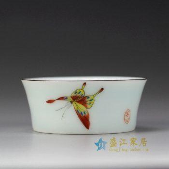 RYOK82-C_景德镇陶瓷 手绘粉彩 蝴蝶 描金边 单杯 茶具