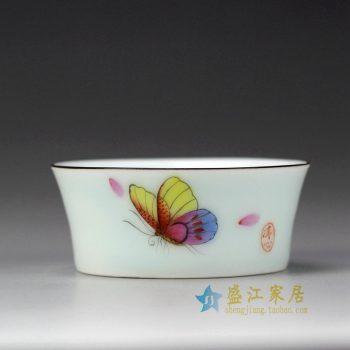 RYOK82-B_景德镇陶瓷 手绘粉彩 蝴蝶 描金边单杯 茶具