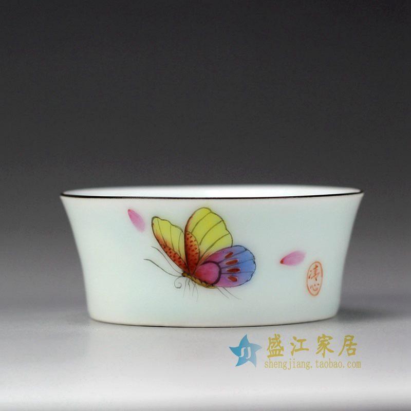 盛江陶瓷 手绘粉彩 蝴蝶 描金边单杯 茶具