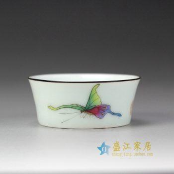 RYOK82-A_景德镇陶瓷 手绘粉彩 蝴蝶 描金边 单杯 茶具