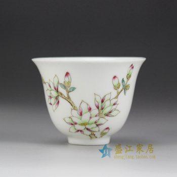 RYNY08-H_景德镇陶瓷 手绘粉彩 寿桃单杯 茶具