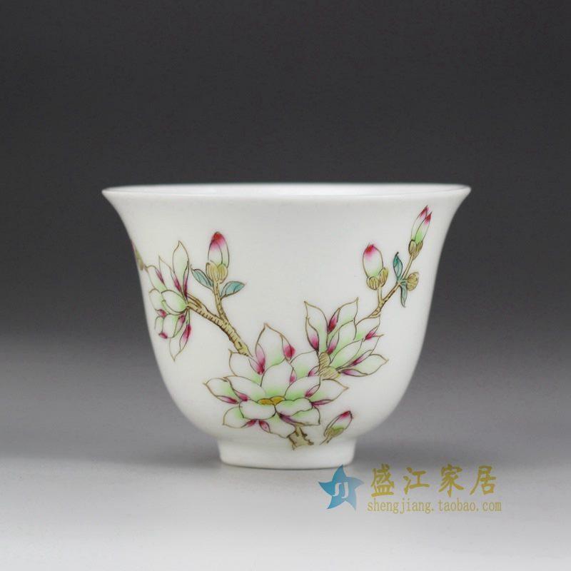 盛江陶瓷 手绘粉彩 单杯 茶具