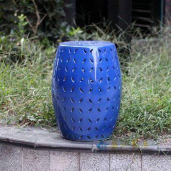 RYNQ151-C_景德镇陶瓷 蓝色镂空 陶瓷凳 凉墩