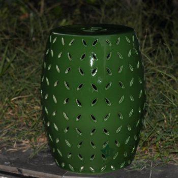 RYNQ151-B_景德镇陶瓷 绿色镂空 陶瓷凳 凉墩