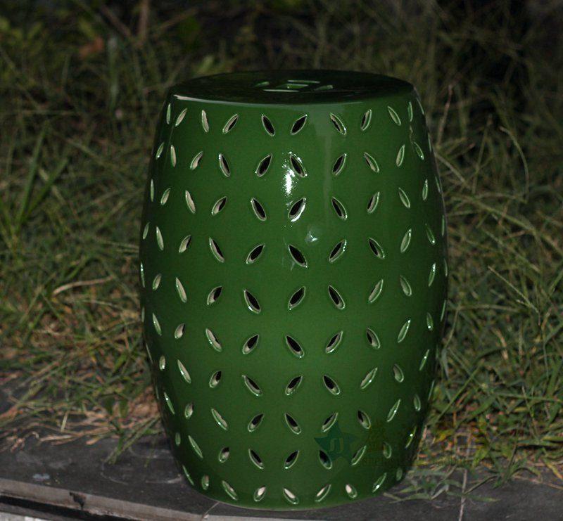 盛江陶瓷 绿色镂空 陶瓷凳 凉墩