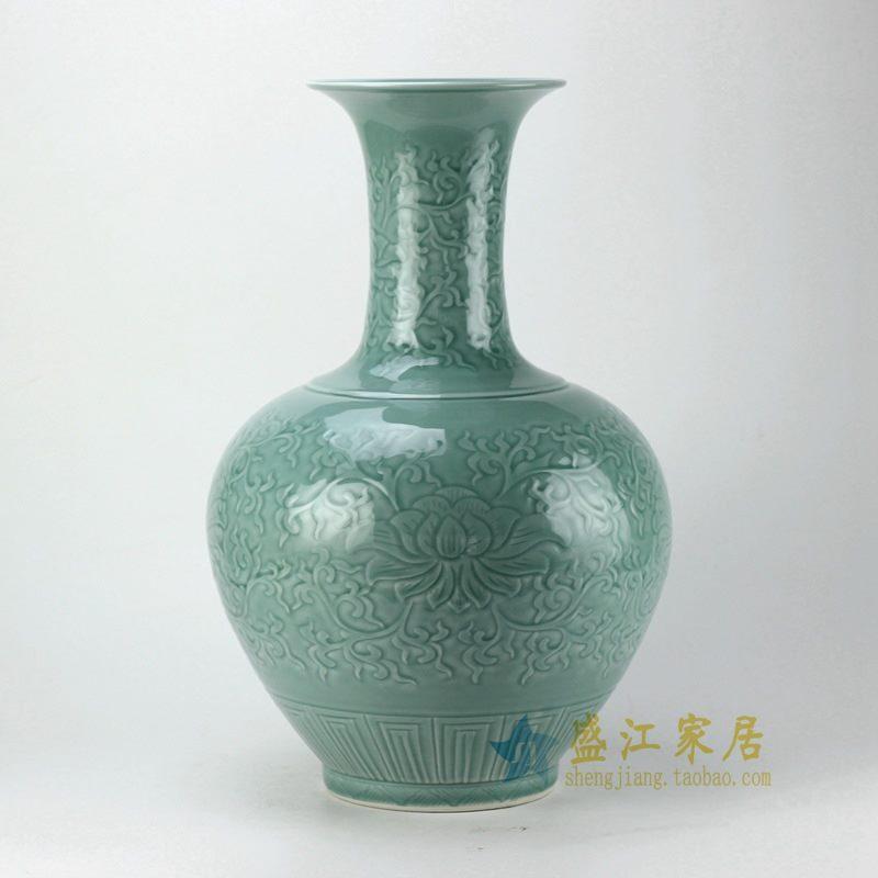 盛江陶瓷 手工扒花 花插花瓶