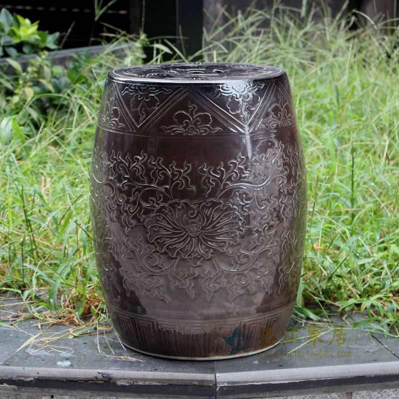 盛江陶瓷 手工浮雕 陶瓷凳 凉墩
