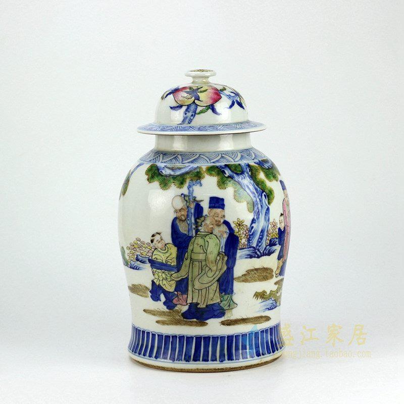 景德镇   手绘人物将军罐花瓶  艺术摆件品