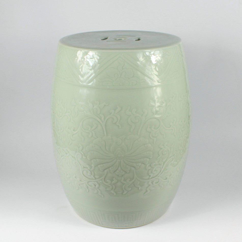 RYMA93-E 手工 雕刻缠枝 绣墩 凳子 凉墩 瓷凳