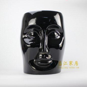 RYIR112-A 高温颜色釉 黑色人脸凳子