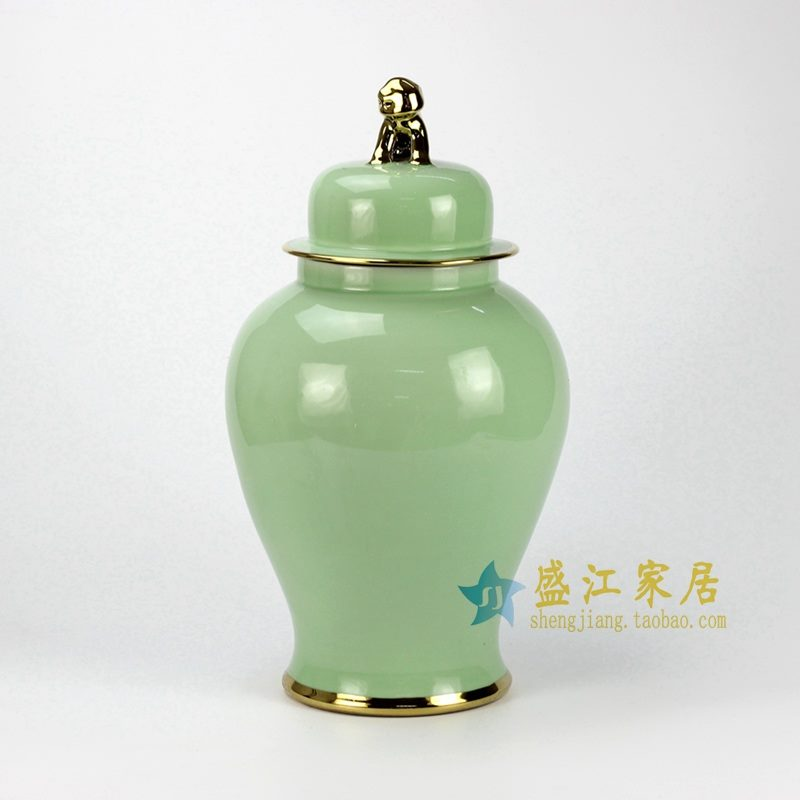RYKB115-D 金边豆绿将军罐 盖罐