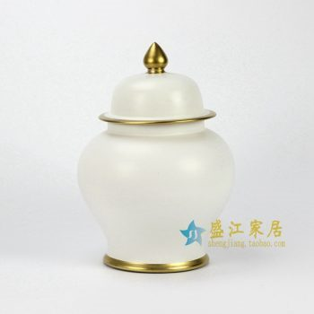 RYKB131-F 单色釉亚光白将军罐加金边