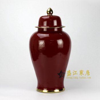 RYKB132-C 红釉加金边将军罐
