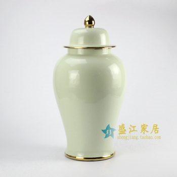 RYKB132-D 青釉加金边将军罐