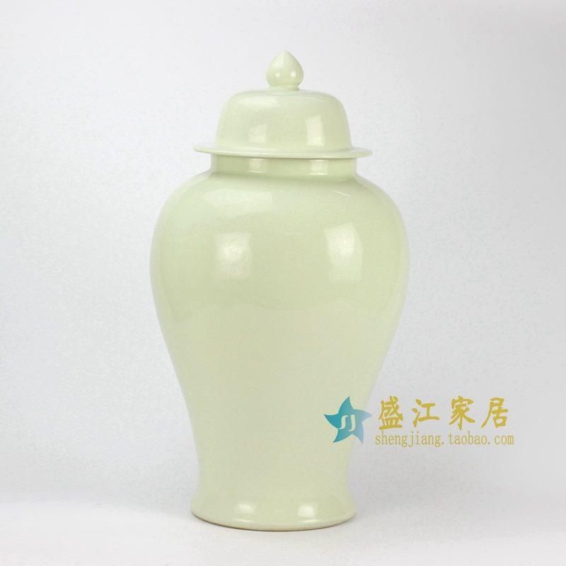 RYKB132-E 象牙黄单色釉将军罐