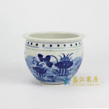 RYLU60-A 青花手绘荷叶缸
