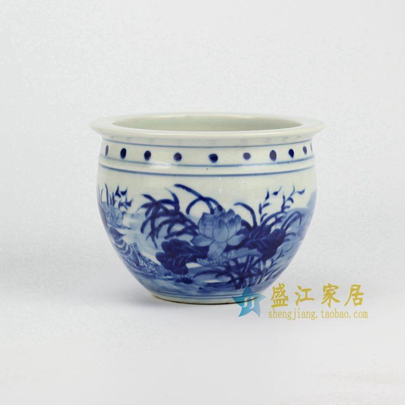 RYLU60-B 青花手绘荷花缸