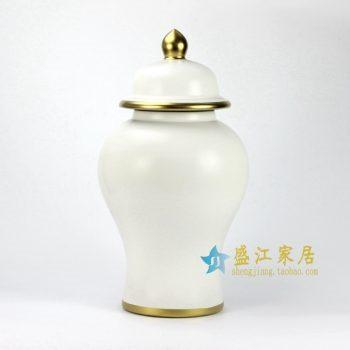 RYRJ14-D 亚光白金边将军罐