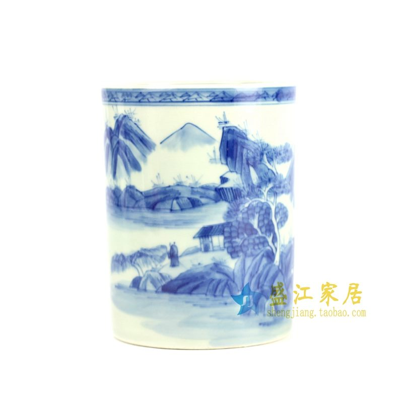 RYZN01-B 青花手绘山水笔筒