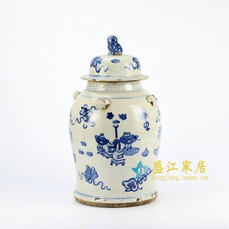 RZEY12-D 青花手绘仿古将军罐