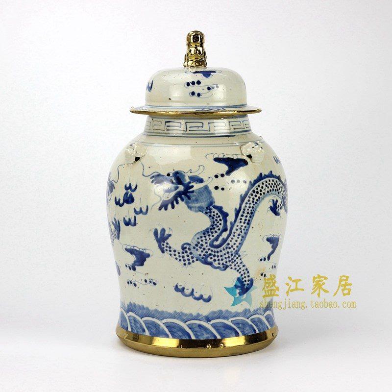 RZEY12-E  青花手绘仿古龙纹将军罐