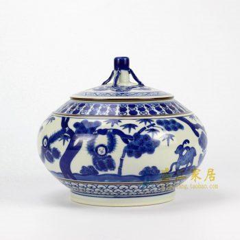 RZHJ01-A 青花手绘动物茶叶罐