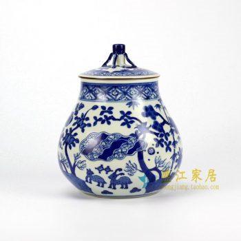 RZHJ02 青花手绘动物茶叶罐