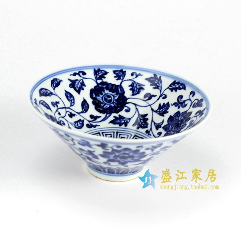 RZHL02-B 青花手绘花纹斗笠杯