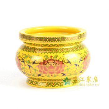 RYIA11 景德镇 黄釉香炉 厂家直销