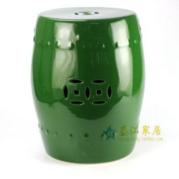 RYKB111-C 景德镇 深绿单色釉瓷凳   花园凳   浴室凳   厂家直销