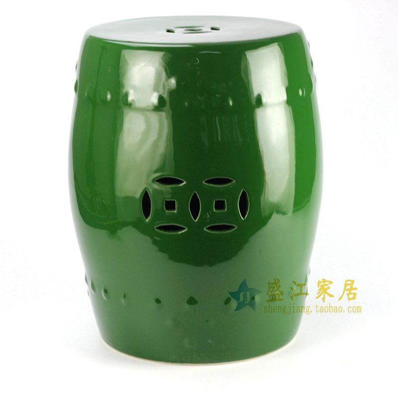 景德镇 深绿单色釉瓷凳   花园凳   浴室凳   厂家直销