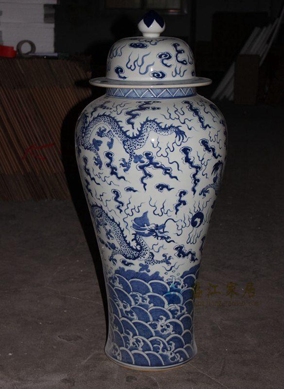 RYLU61 青花龙纹大号将军罐