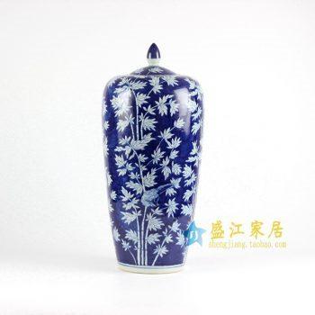 RYLU67-D青花手绘竹子大罐子盖罐
